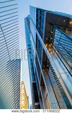 New York, Usa - March 9, 2020: Architectonic Details From One World Trade Center Transportation Hub,