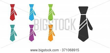 Black Tie Icon Isolated On White Background. Necktie And Neckcloth Symbol. Set Icons Colorful. Vecto