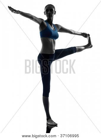 one caucasian woman exercising yoga Hasta Padangusthasana in silhouette studio isolated on white background