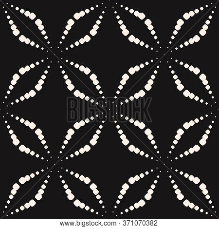 Vector Seamless Pattern With Dots. Simple Minimalist Black And White Geometric Texture With Dotted H