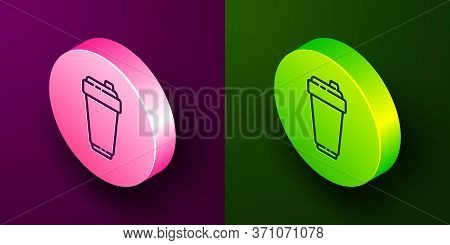 Isometric Line Fitness Shaker Icon Isolated On Purple And Green Background. Sports Shaker Bottle Wit