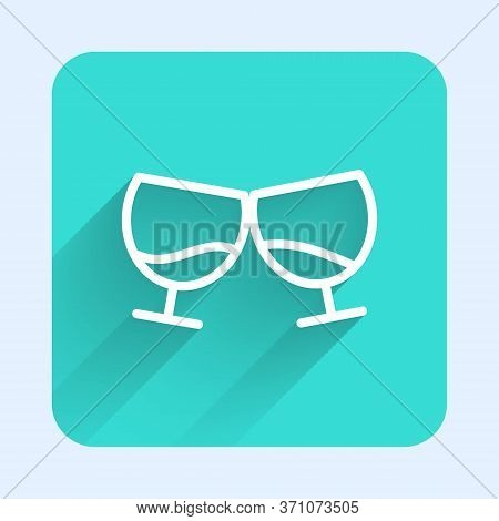 White Line Glass Of Cognac Or Brandy Icon Isolated With Long Shadow. Green Square Button. Vector Ill