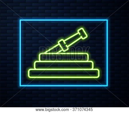Glowing Neon Line Garden Hose Or Fire Hose Icon Isolated On Brick Wall Background. Spray Gun Icon. W