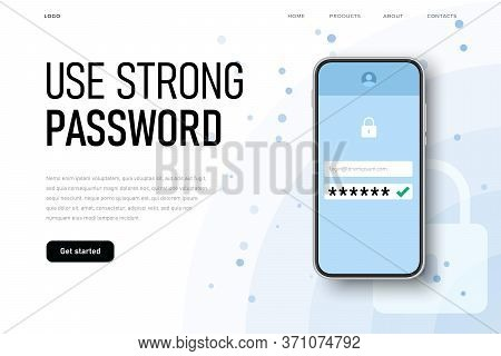 Use Strong Password Reminder With Realistic Phone And Password Icon.
