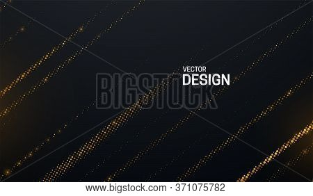 Black Cover With Shimmering Striped Pattern. Abstract Background. Vector Illustration. Golden Glowin
