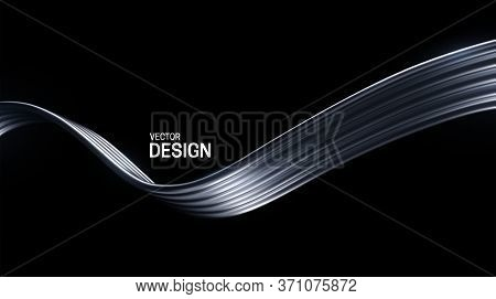 Abstract Silver Wave Isolated On Black Background. Vector 3d Illustration. Metallic Wires. Streaming
