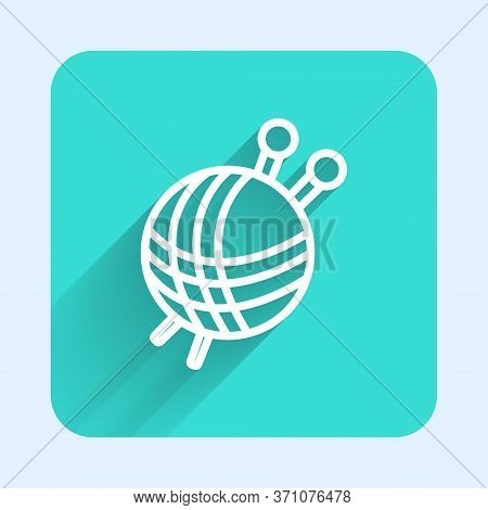 White Line Yarn Ball With Knitting Needles Icon Isolated With Long Shadow. Label For Hand Made, Knit