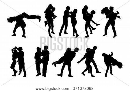 Set Of Dancing Couples Silhouettes Isolated On White Background. Men And Women On Swing, Jazz, Lindy
