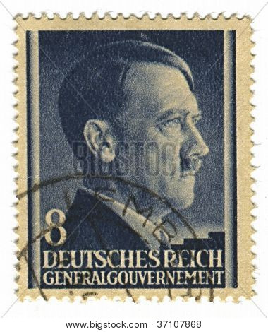 GERMANY - CIRCA 1943: A stamp printed in Germany shows image of Adolf Hitler was an Austrian-born German politician and the leader of the Nazi Party, in blue, circa 1943.