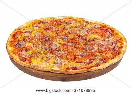 Tasty Homemade Pizza On A Wooden Board. Italian Food Isolated On The White Background