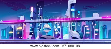 Future City, Night Town With Skyscrapers And Overpass With Neon Lights. Vector Cartoon Illustration