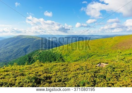 Wonderful Mountain Landscape In Summer. Beauty Of Nature In Green And Blue. Meadows On Rolling Hills