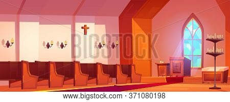 Catholic Church Interior With Altar, Wooden Benches, Tall Arch Window And Candles. Vector Cartoon Il