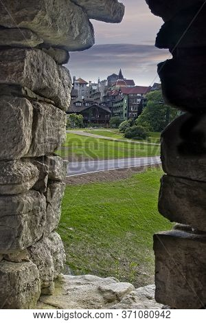 The Entrance To Mohonk Mountain House, From The View Of A Stone Gazebo, In Upstate New York.