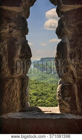 View Of The Western Trapps And Climbing Cliffs From Skytop, On Mohonk Mountain House, In Upstate New