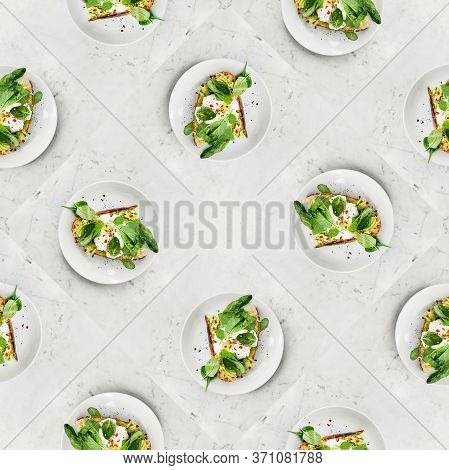 Fresh Healthy Breakfast Toast With Egg Avocado And Green Leaves, Croque-madame, Seamless Pattern, Bo