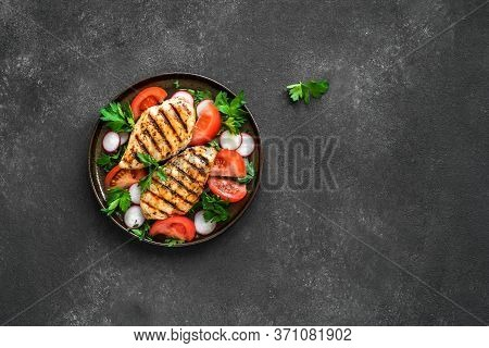 Grilled Chicken Breast, Fillet, Steak And Fresh Vegetable Salad, Top View, Copy Space. Healthy Keto,
