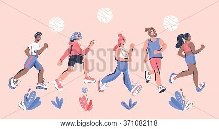 Banner With Marathoners Running Sportive People. Cartoon Vector Illustration.