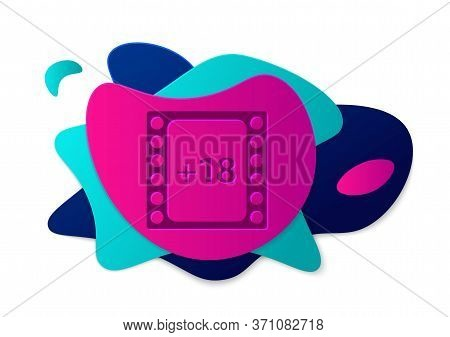 Color Play Video With Inscription 18 Plus Content Icon Isolated On White Background. Age Restriction
