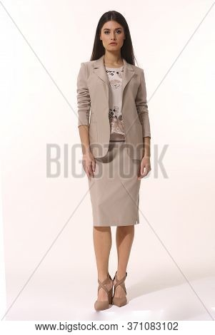 Indian Business Woman Executive Posing In Official Suit Full Body Photo