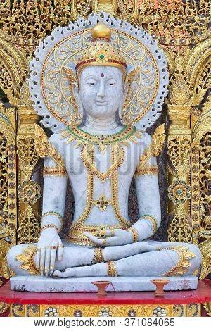 Beautiful Buddha Statue At Wat Phra That Doi Suthep In Chiang Mai, Northern Thailand