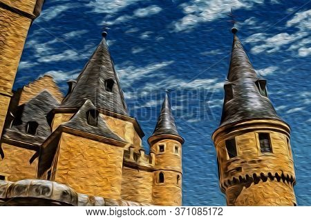 Detail Of Towers With Conical Roofs And Spires At The Medieval Alcazar Of Segovia. An Ancient City F