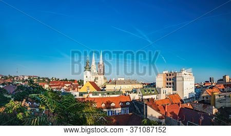 Old Town Architecture And Famous Restored Cathedral Of Zagreb In Croatian Zagreb City, Croatia. Pano