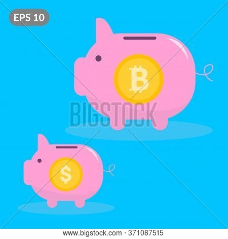 Big Bitcoin Piggy Bank With Small Dollar Piggy Bank. The Concept Of Profitability Of Cryptocurrencie