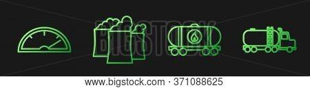 Set Line Oil Railway Cistern, Speedometer, Oil Industrial Factory Building And Tanker Truck. Gradien