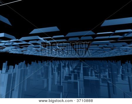 Fantasy Alien Blue Futuristic Constructions