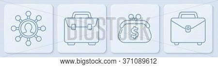 Set Line Business Network And Communication, Wallet With Dollar, Briefcase And Briefcase. White Squa