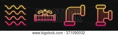 Set Line Industry Metallic Pipe, Wave, Industry Pipe And Valve And Industry Metallic Pipe. Glowing N