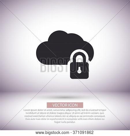 Cloud Lock Vector Icon , Lorem Ipsum Flat Design