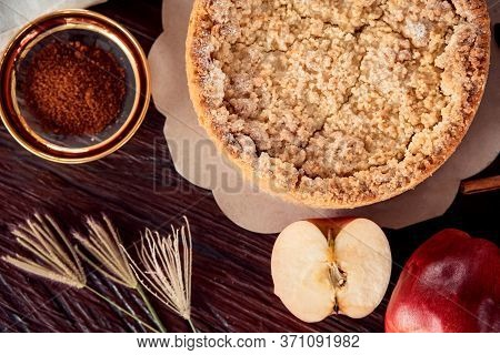 Homemade Delicious Apple Pie With Different Ingredients On Rustic Background. Classic Autumn Thanksg