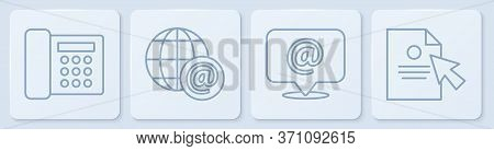 Set Line Telephone, Mail And E-mail, Earth Globe With Mail And Document And Cursor. White Square But