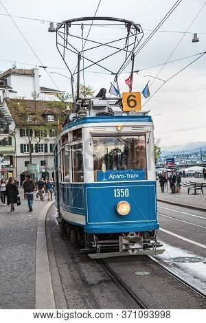 Zurich, Switzerland - June 4, 2016: Blue Retro Tram On A Street In Zurich. Trams Have Been A Consist