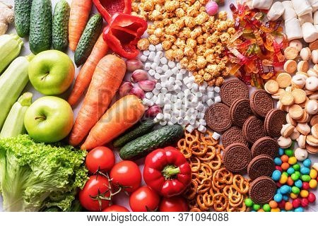 Healthy Food And Junk Food Top View Flat Lay