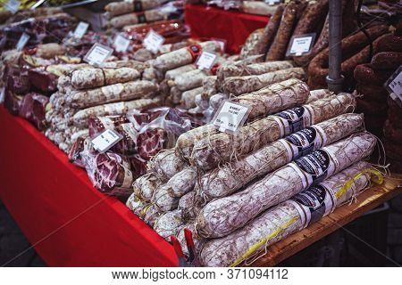Basel, Switzerland - March 31, 2018: Salami Sausages At A Market Stall For Sale In Basel Farmers Mar