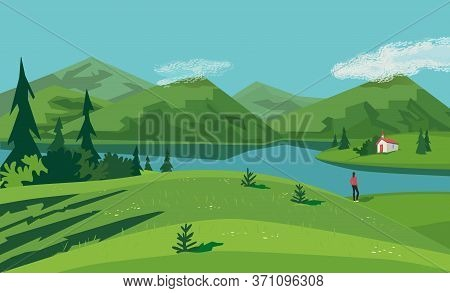 Mountain Green Valley Lake Landscape. Summer Season Scenic View Poster. Old Church On River Bank In