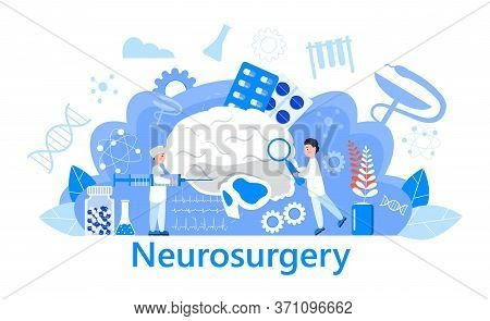Neurosurgery Concept Vector. Multiple Sclerosis Awareness Month Event. Anatomical Science Of Brain A