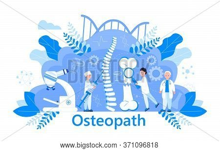 Osteopath Vector Concept. Osteoporosis World Day, . Tiny Doctors Research Osteoarthritis Anatomical