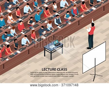 Isometric Professor Lecture Class Background With Characters Of Students And Lecturer In Front Of Pr