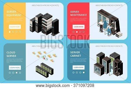 Datacenter Isometric Colored Banner Set With Server Equipment Server Maintenance Cloud Headlines Vec