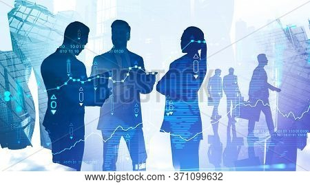 Concept Of Financial Market. Silhouettes Of Diverse Business People In Blurry Abstract City With Dou