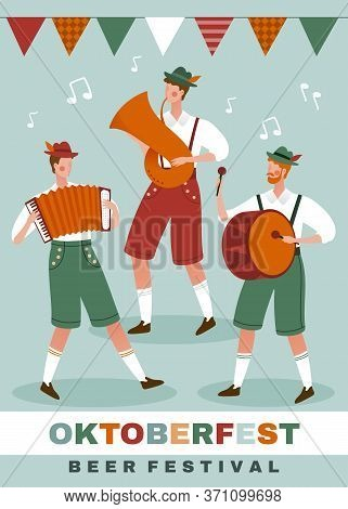 Poster Design For The Munich Oktoberfest With A German Band Plying Traditional Instruments Under A R
