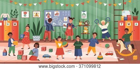 Colorful Panorama Banner Of Diverse Kids In Kindergarten Class Happily Pursuing A Variety Of Activit