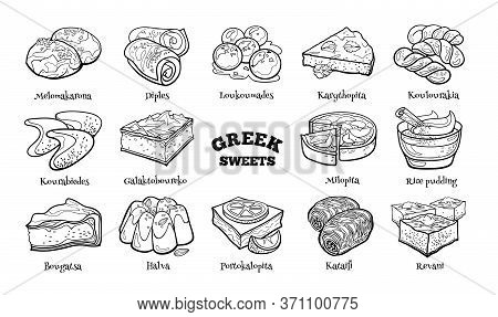 Doodle Set Of Greek Sweets. Hand Drawn Sketch Of Traditional Desserts. Vector Illustration On White
