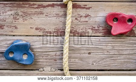 Closeup Image Of Colorful Grips For Cliff Climbing On Palyground