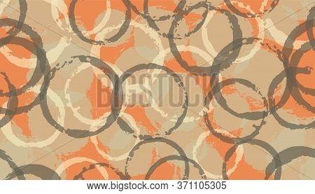 Simple Painted Circles Geometry Fabric Print. Round Shape Blob Overlapping Elements Vector Seamless