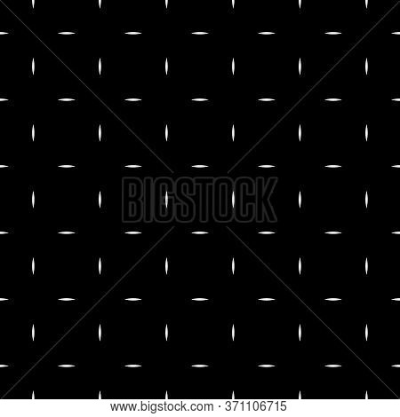 White Dashes On Black Background. Image With Strokes. Dashed Motif. Seamless Surface Pattern Design